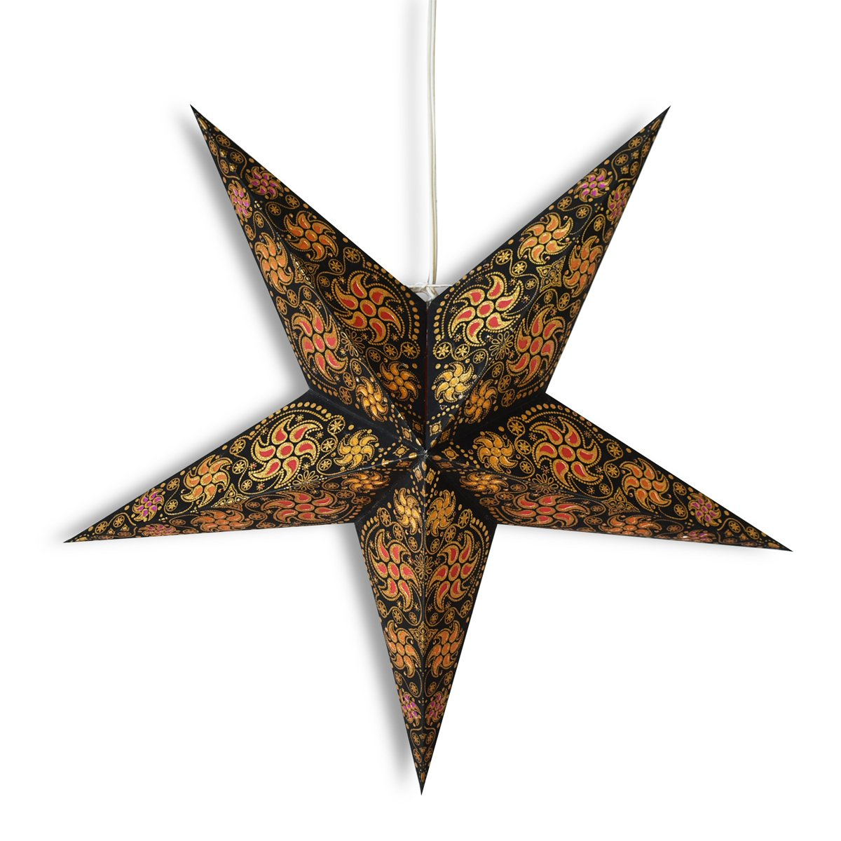 "24"" Black / Gold Winds Glitter Paper Star Lantern, Hanging Wedding & Party Decoration"