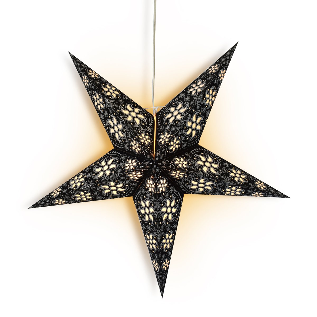 "24"" Black / Silver Winds Glitter Paper Star Lantern, Hanging Wedding & Party Decoration"