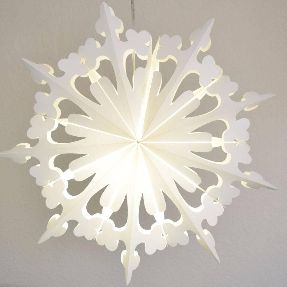 "24"" White Winter Clover Christmas Holiday Snowflake Paper Star Lantern, Hanging - AsianImportStore.com - B2B Wholesale Lighting and Decor"