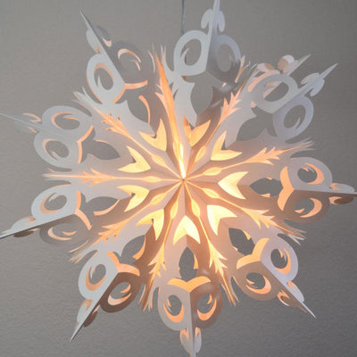 Pizzelle Paper Star Lantern (24-Inch, White, Winter Frozen Snowflake Design)