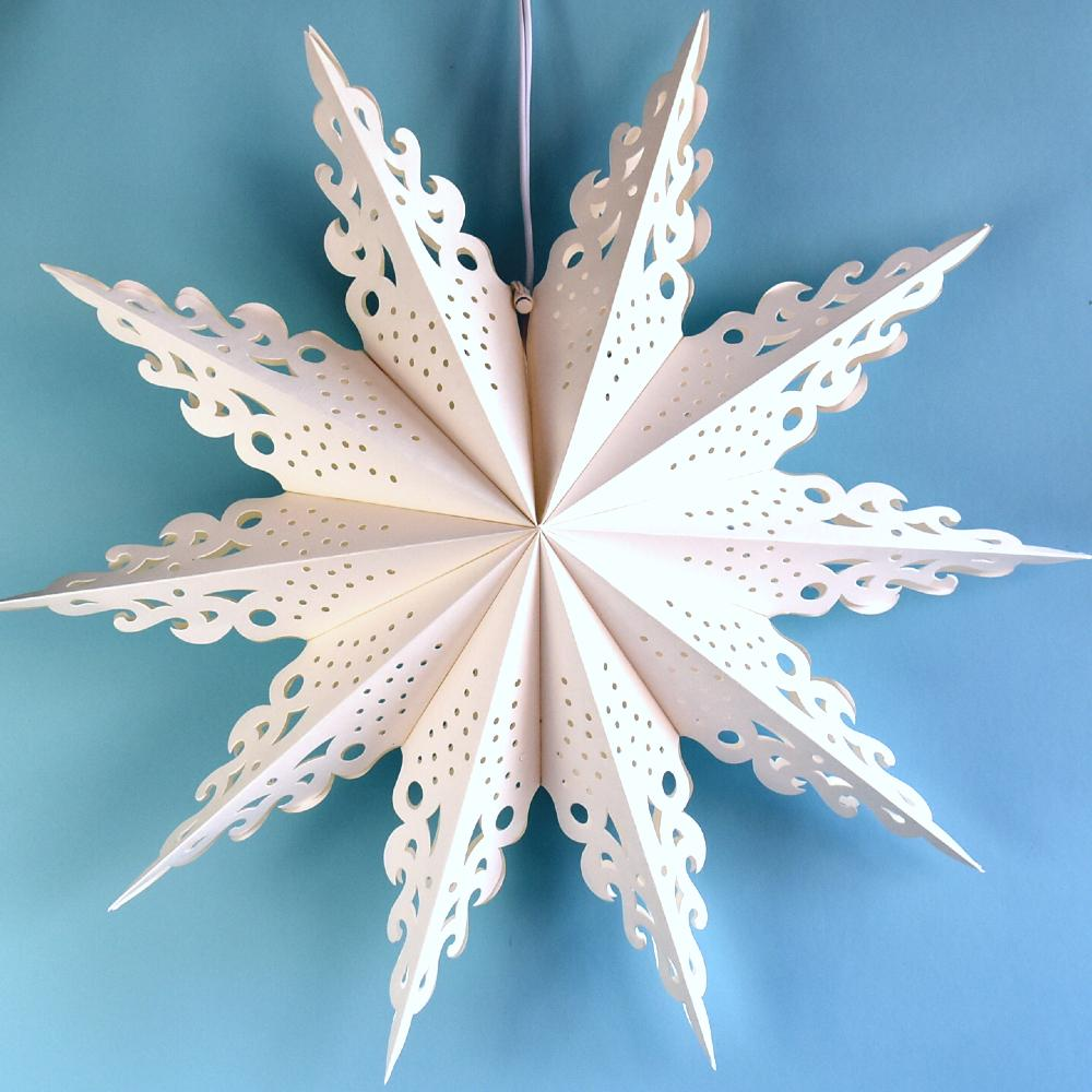 Quasimoon Pizzelle Paper Star Lantern (24-Inch, White, Ice Crystal Snowflake Design) - Great With or Without Lights - Holiday Snowflake Decorations