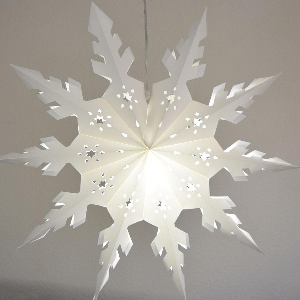 Quasimoon Pizzelle Paper Star Lantern (24-Inch, White, Winter Peppermint Snowflake Design) - Great With or Without Lights - Snowflake Decorations