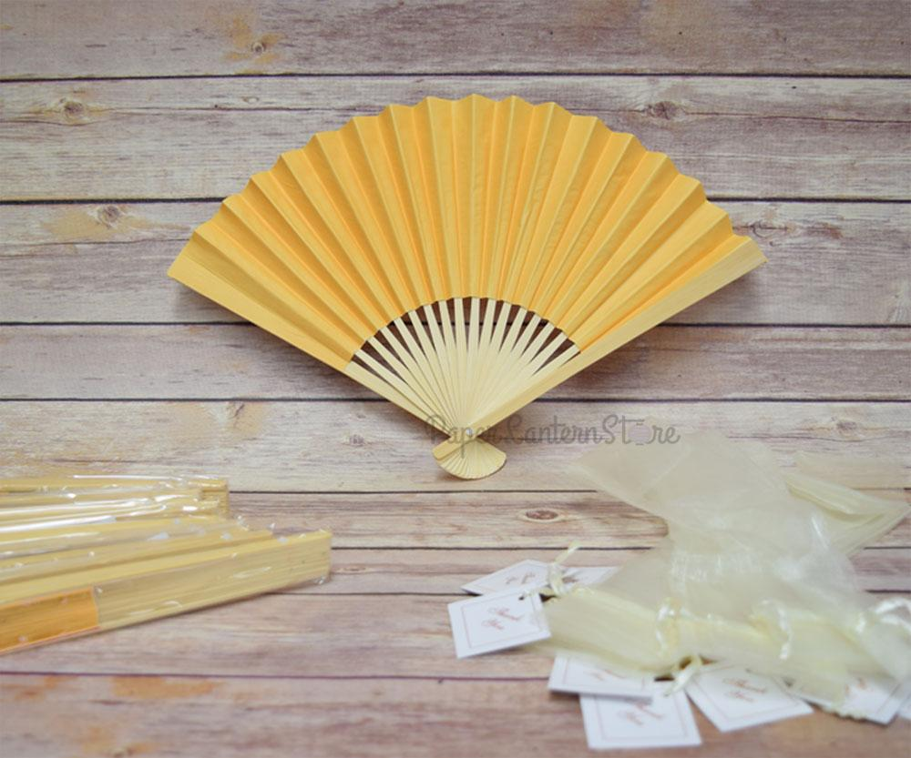 "9"" Yellow Paper Hand Fans w/ Beige Organza Bag (Combo 10 Pack)"