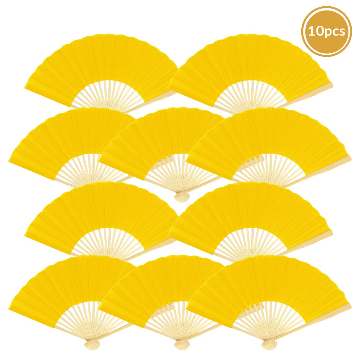"9"" Yellow Silk Hand Fans for Weddings (10 Pack)"