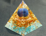 "Lapis lazuli Sphère & Turquoise ""Double energy circle""Orgone pyramide"