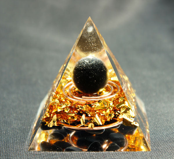"Obsidienne Sphère & Obsidienne ""Double energy circle""Orgone pyramide"