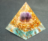 "Améthyste Sphère & Turquoise ""Double energy circle""Orgone pyramide"
