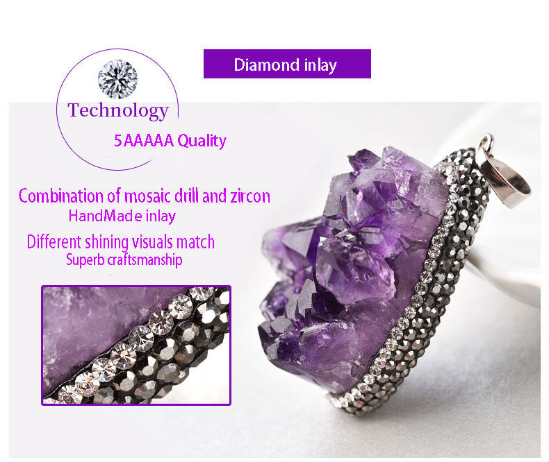 5AAAAA High Quality Uruguay Nature Amethyst Cluster Pendant Gift +Amethyst Rocks neckelace chain