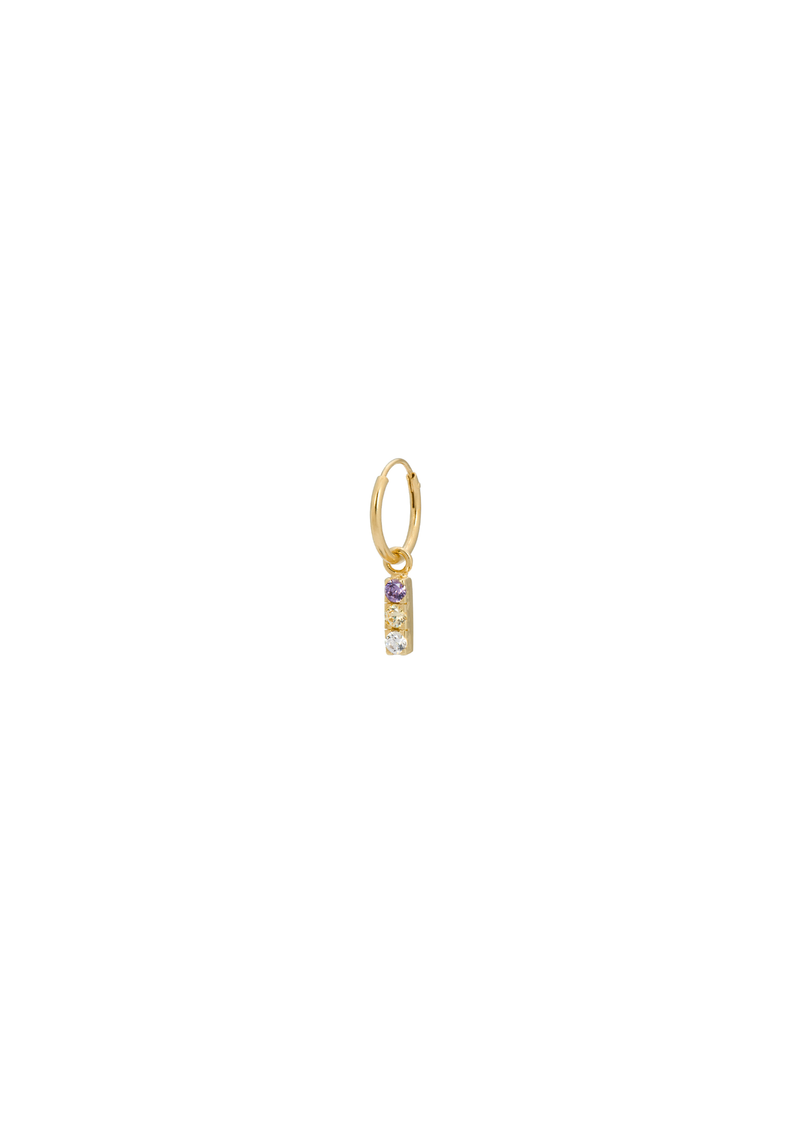 Single Zirconia String Ring Earring Show Goldplated