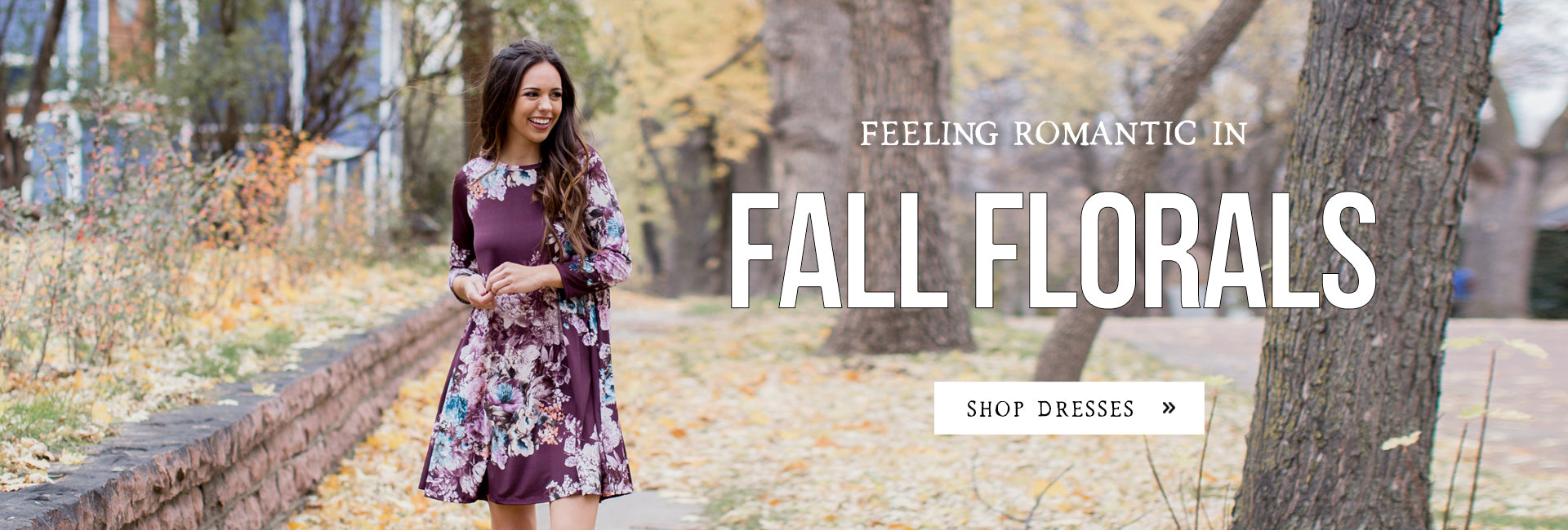 Feeling Romantic in Fall Florals - Woman in floral dress