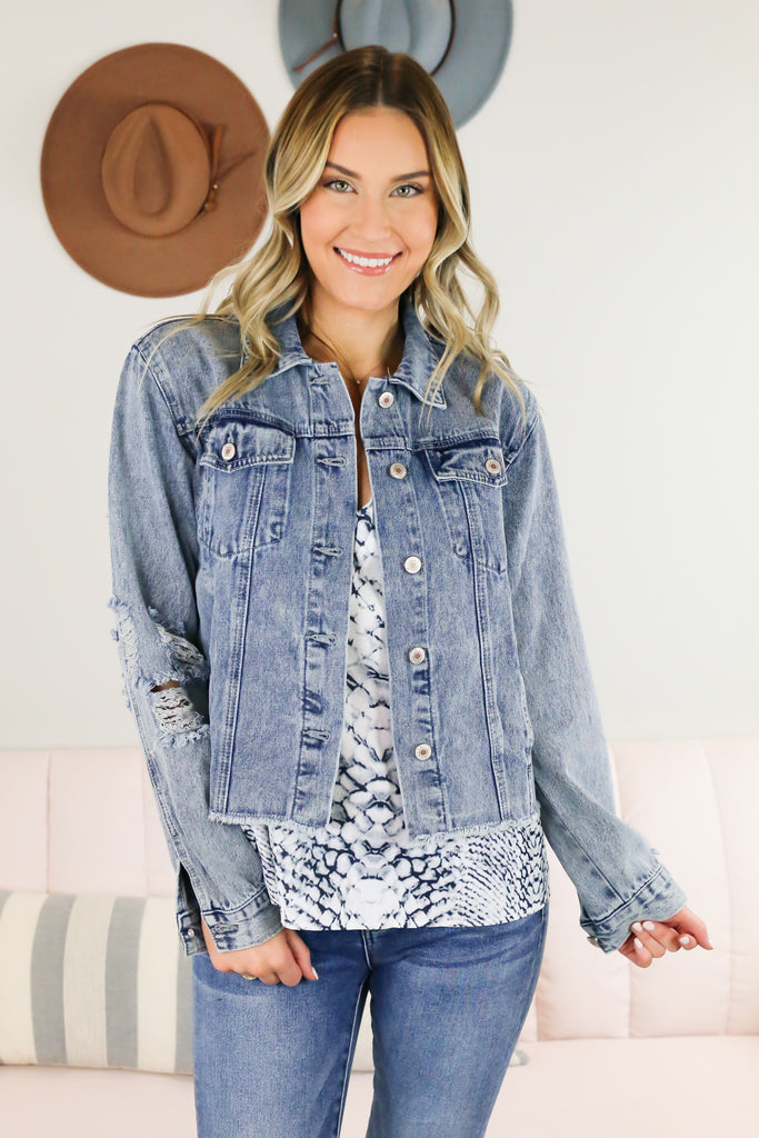 Adventure Distressed Jean Jacket