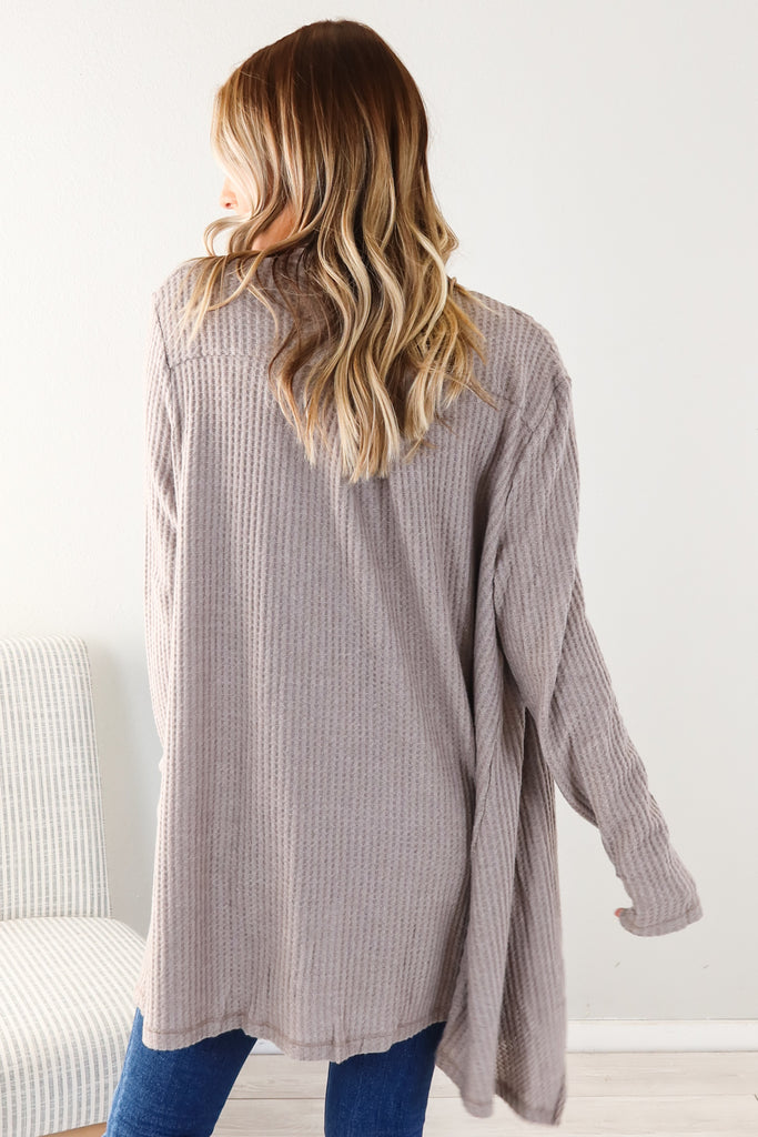 Waffle Knit Cardigan - 3 Colors