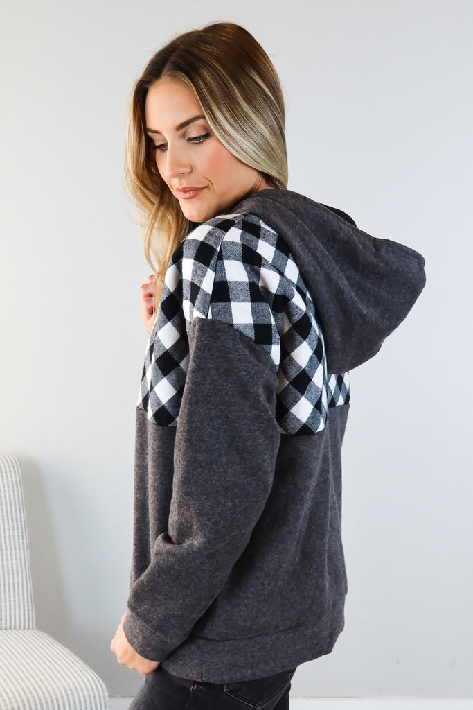 Finish Line Plaid Accent Hoodie
