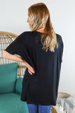 Basic V Neck Oversized Tunic Top - 2 Colors