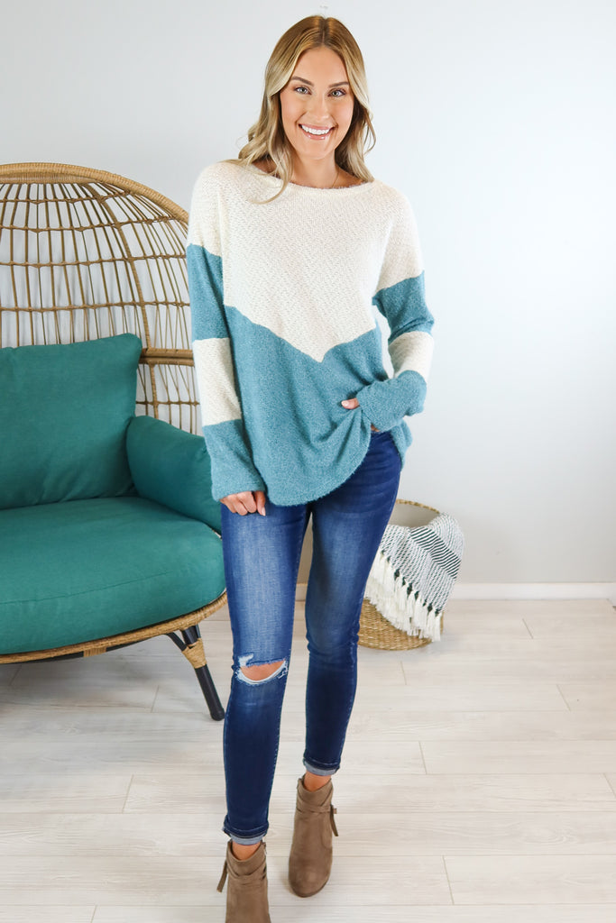 Fuzzy Colorblock Sweater