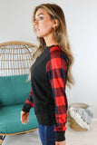 Christmas Eve Plaid Sleeve Top