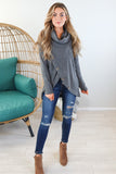 Button Up Thermal Cowl Neck - 4 Colors
