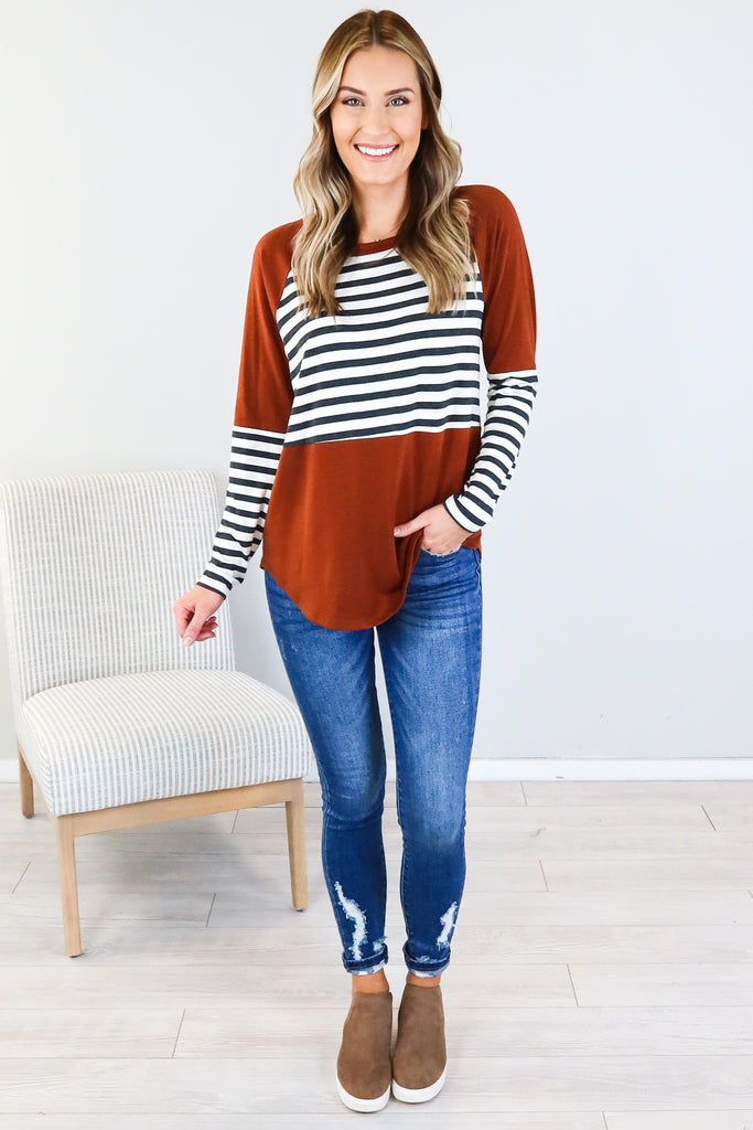 Washout Striped Contrast Top