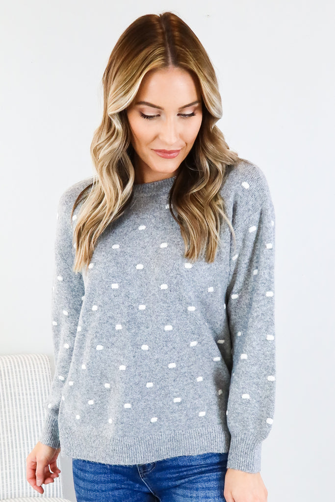 Polk a Dot Pull Over Sweater - 2 Colors