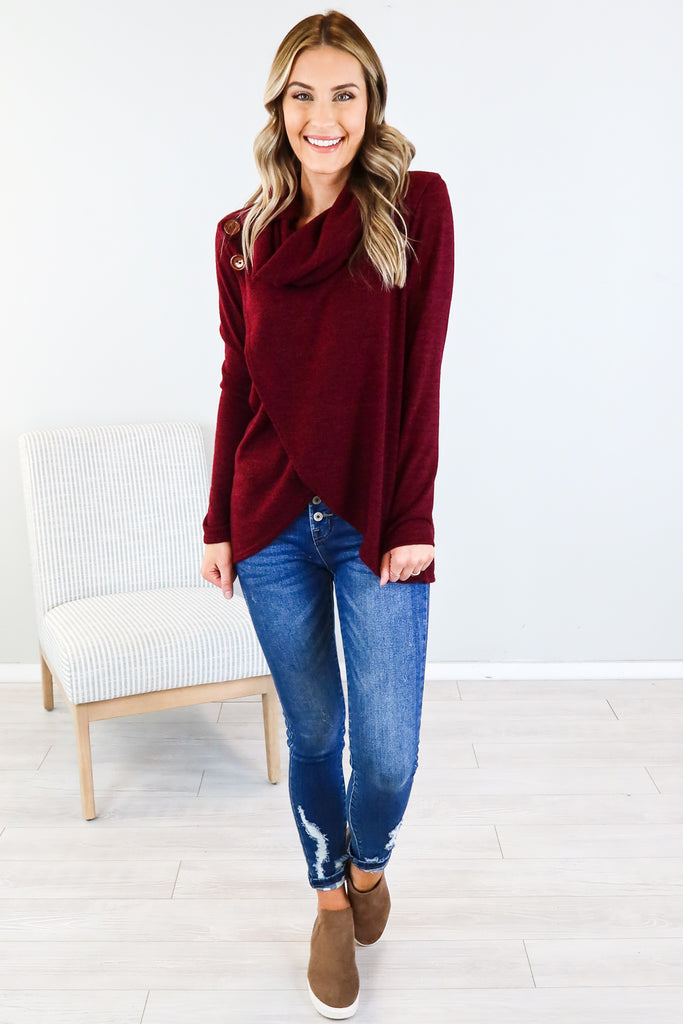 Button Accent Wrap Sweater - 2 Colors