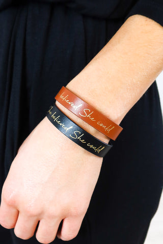 I Am Enough Leather Bracelet - 2 Colors