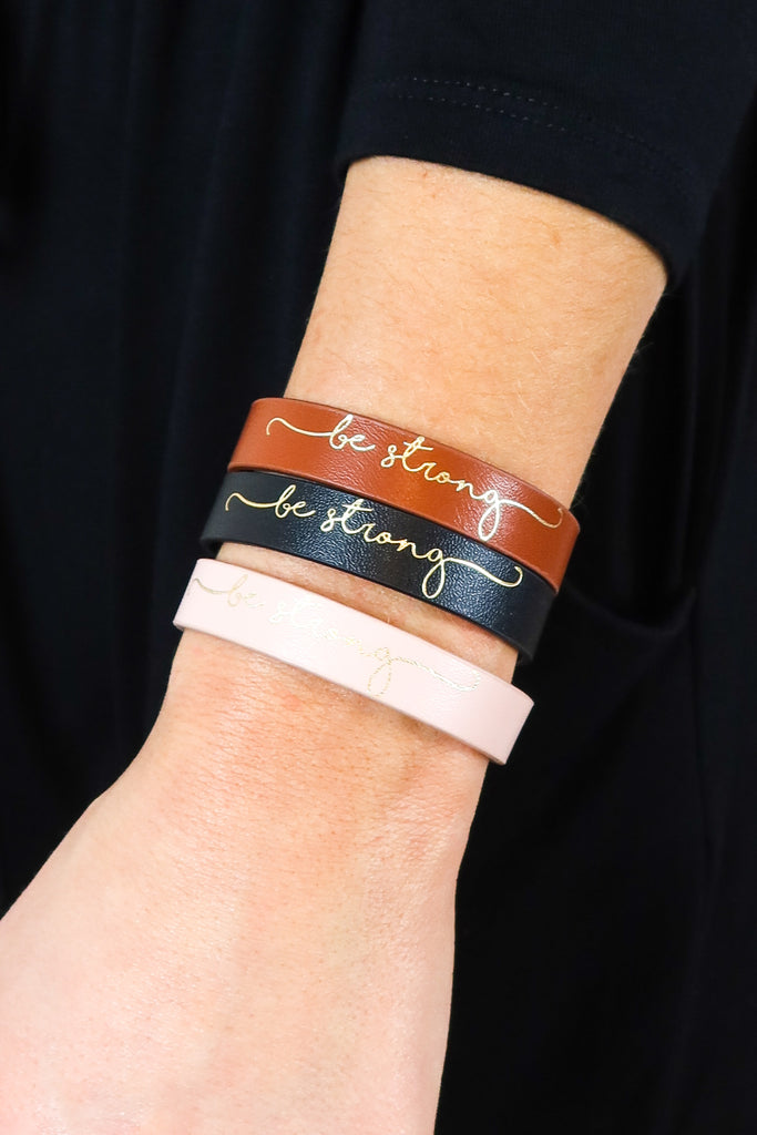 Be Strong Leather Bracelet - 3 Colors