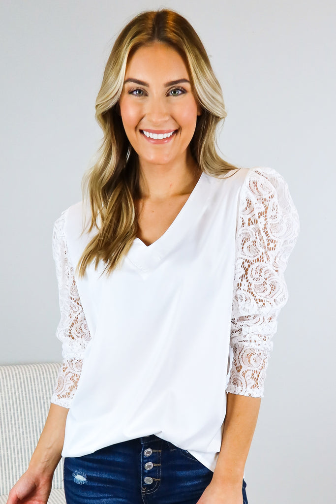 Special Day Lace Accent Top - 2 Colors
