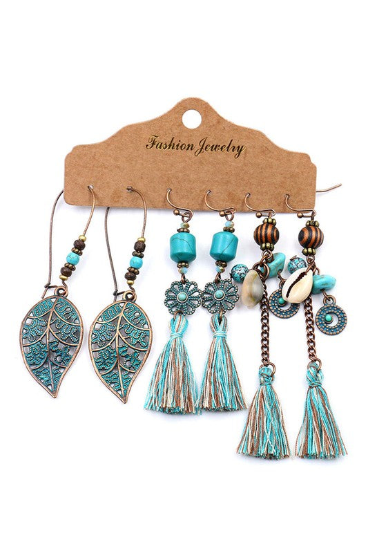 3 Piece Boho Dangle Earrings