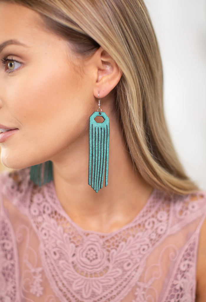 Leather Fringe Earrings-2 Colors