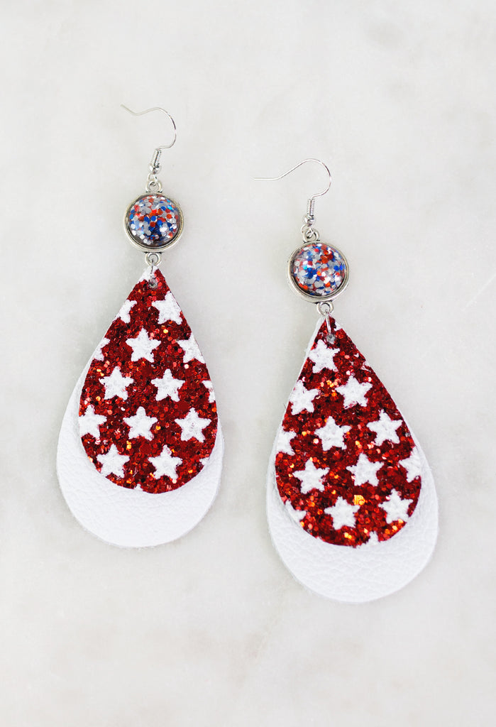 Patriotic Tear Drop Earrings
