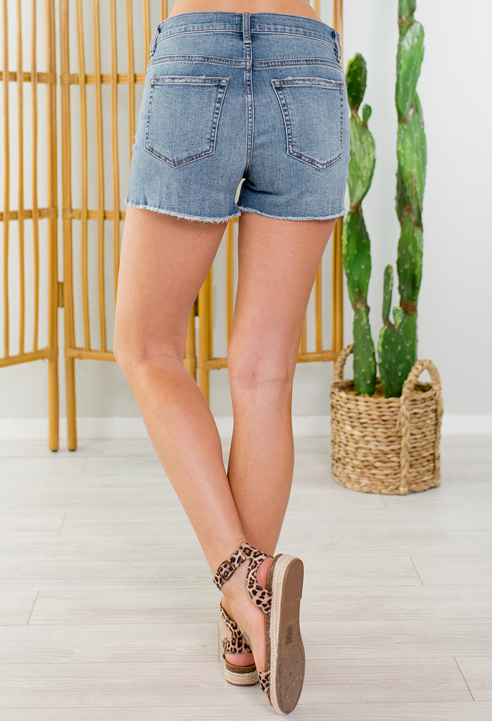 Woodstock Sneak Peak Distressed Jean Shorts