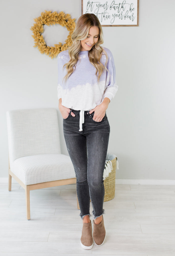 Water Mark Tie Dye Dolman Top
