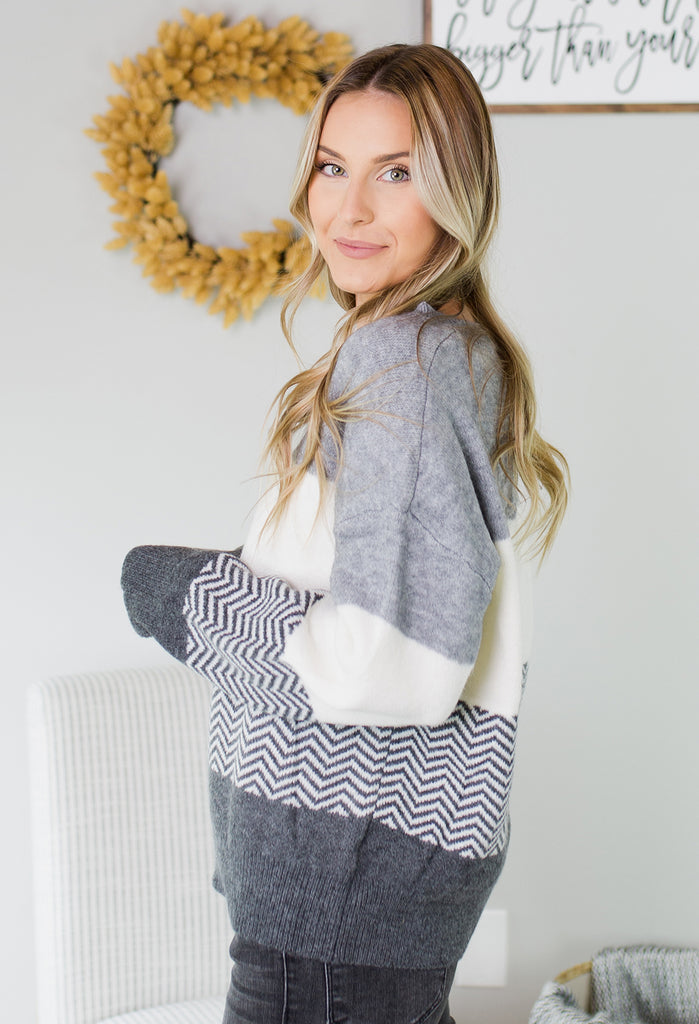 Snuggle In Chevron Sweater - 3 Colors