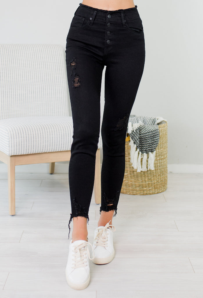 Tiffany High Waisted Distressed Black Jean