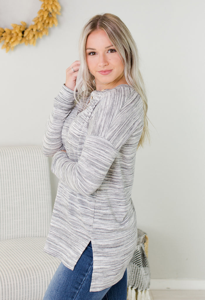 Heathered Grey Button Top