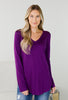 Sweet Serendae V Neck Long Sleeve Top - 5 Colors