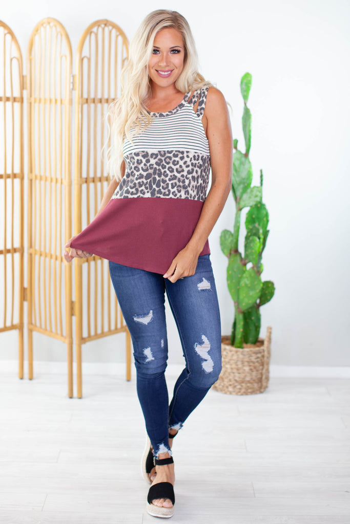 Colorblock Criss Cross Tank