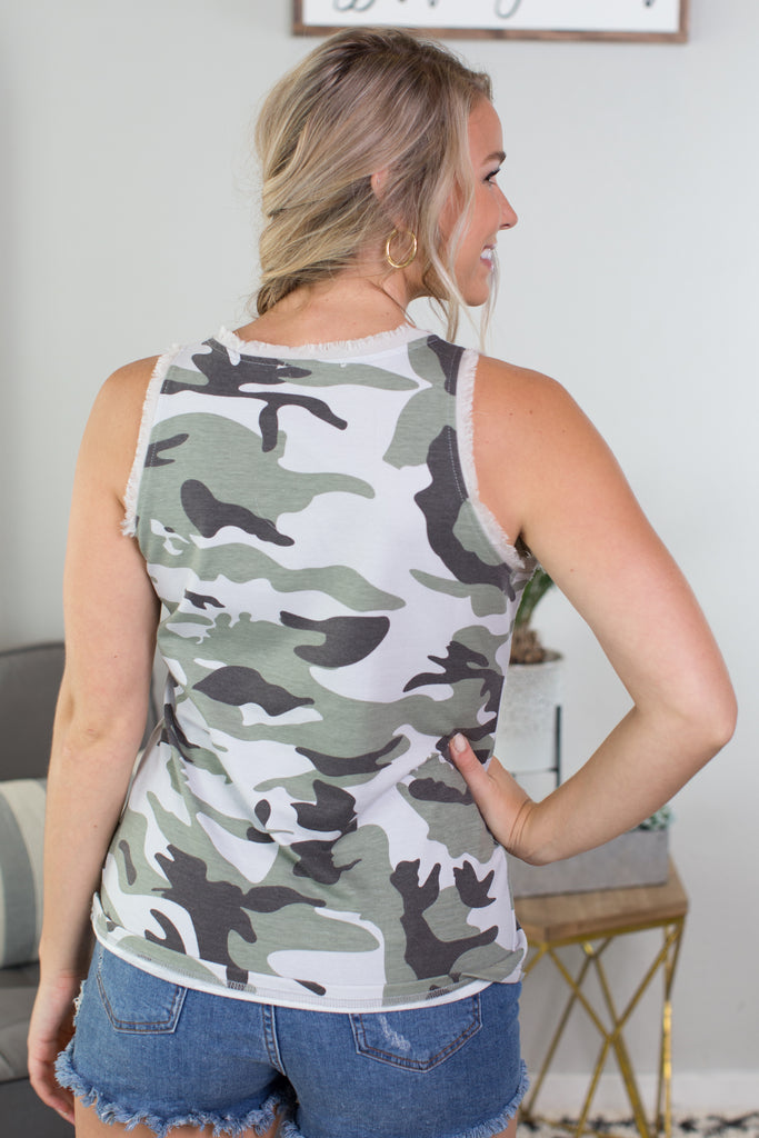 Sleeveless Distressed Camo Top