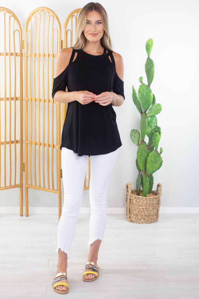 Crossing Paths Cold Shoulder Top