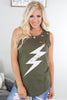 Lightning Bolt Distressed Tank