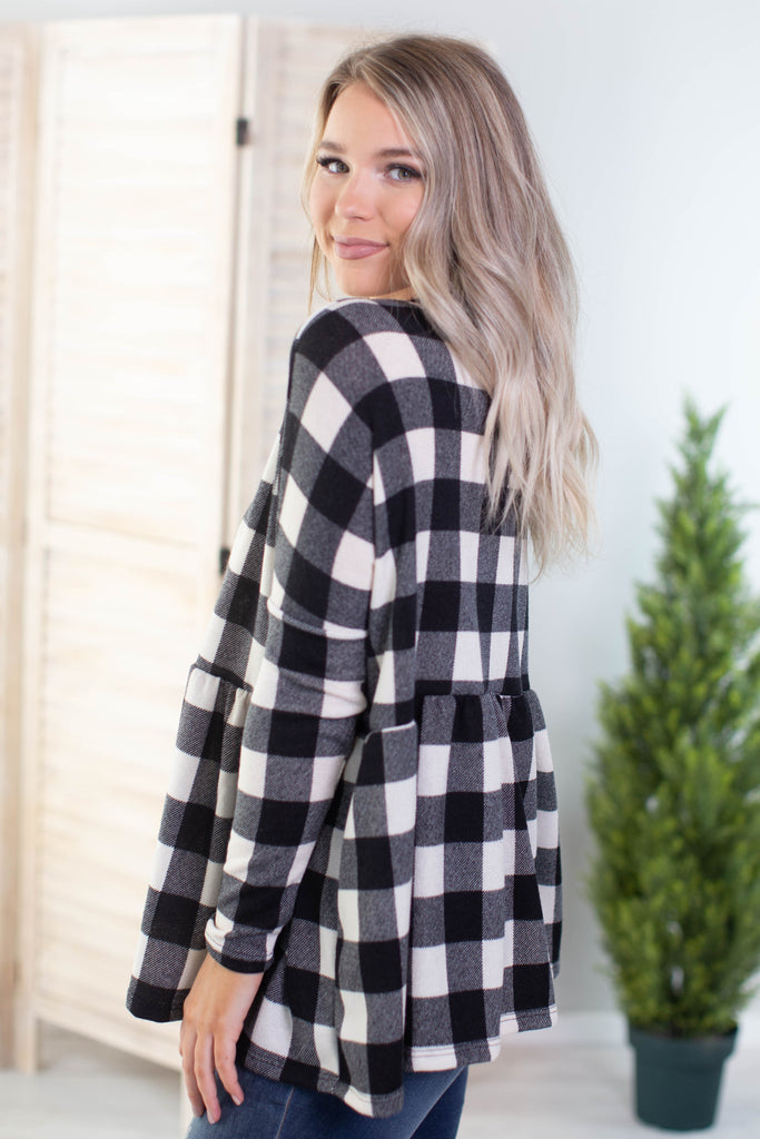 Christmas Carols Plaid Top- 2 colors!