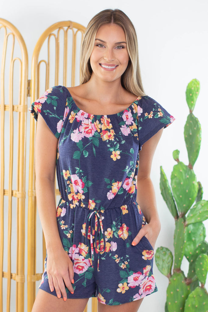 Moonlight Garden Floral Romper