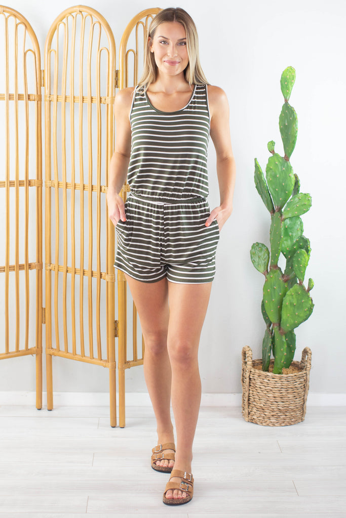 Olive Oyl Striped Romper - 2 Colors