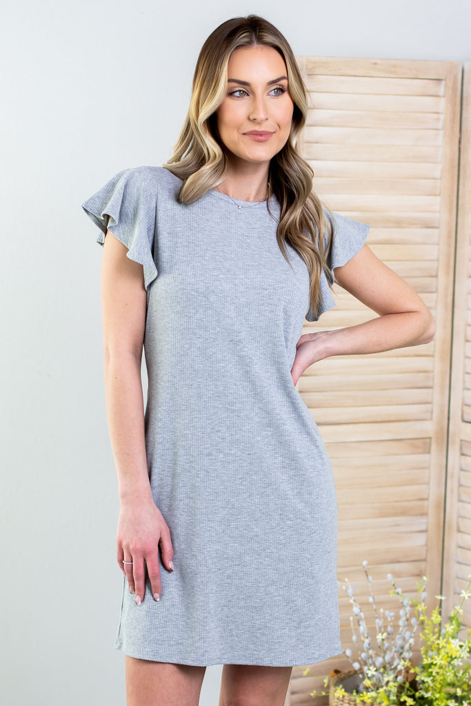Wednesday Ribbed Ruffle Dress-3 Colors!!