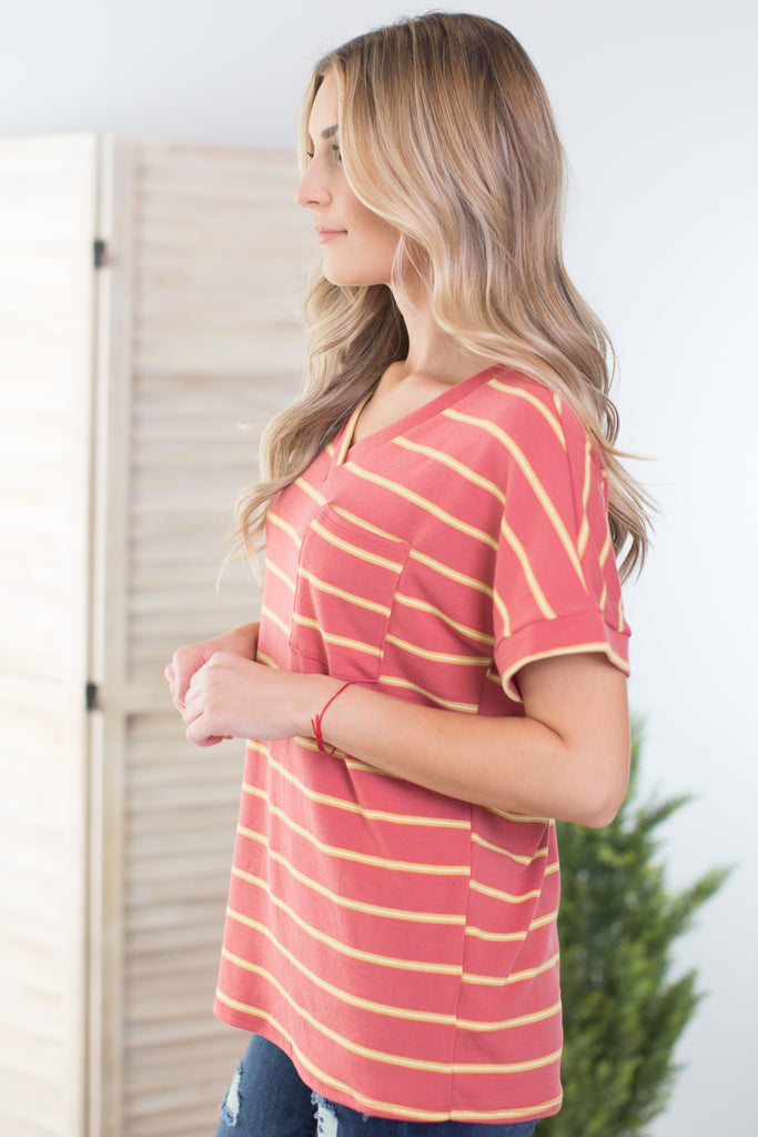 Giving Thanks Striped Pocket Tee