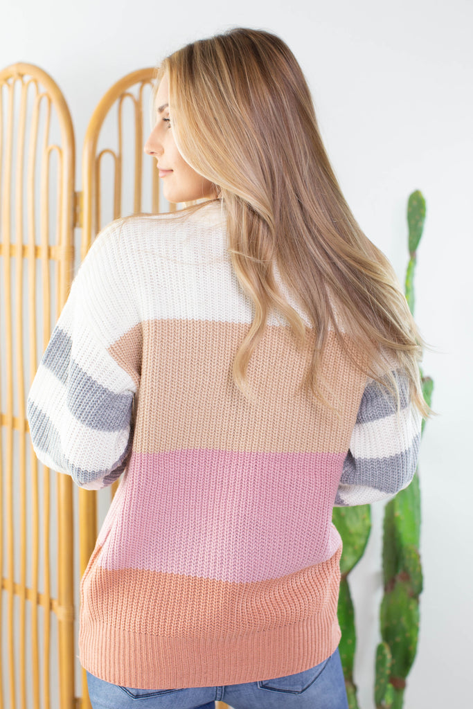 Pink Lady Color Block Sweater