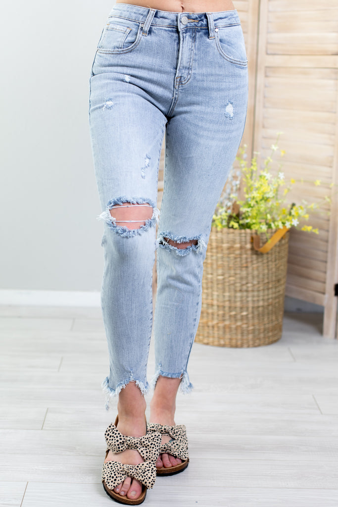 Insane Mid Rise Distressed Skinny Jeans