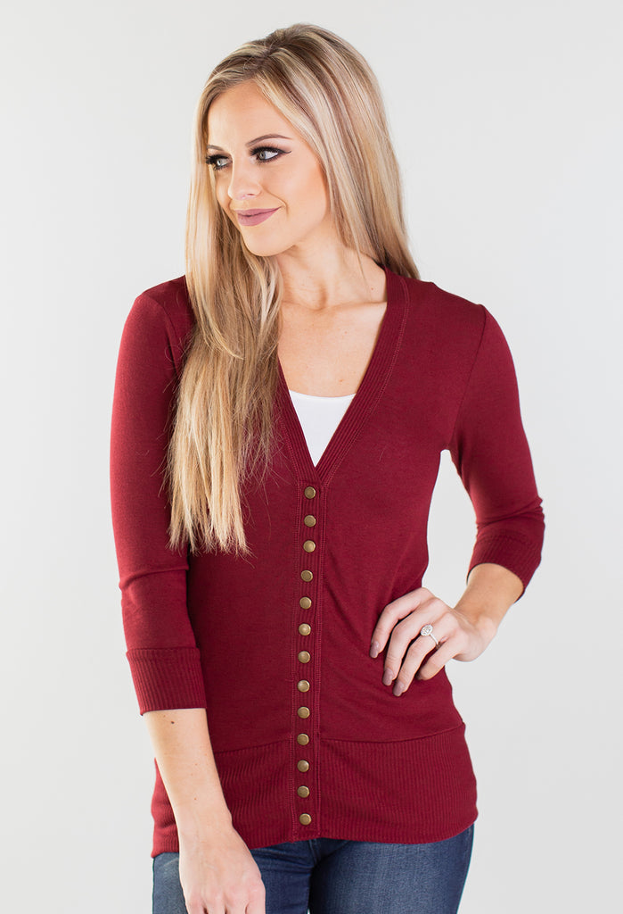 Winter Is Coming 3/4 Sleeve Snap Button Cardigan - 5 Colors!