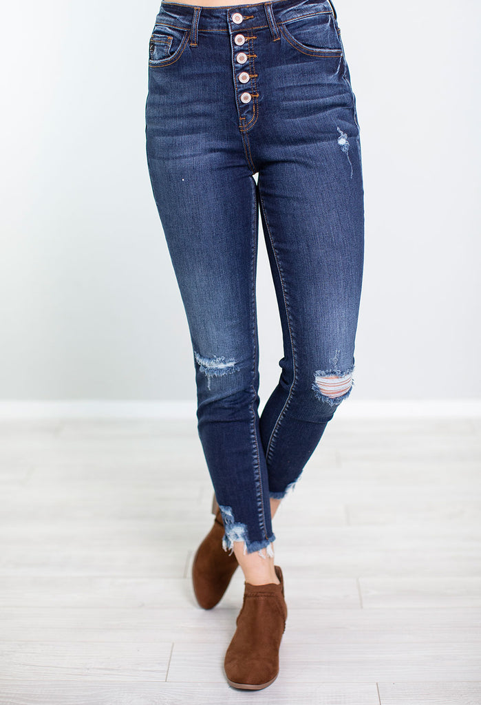 Juni Distressed High Waist Skinny Jeans