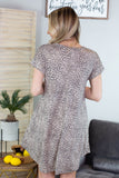 Leopard V Neck Basic Dress